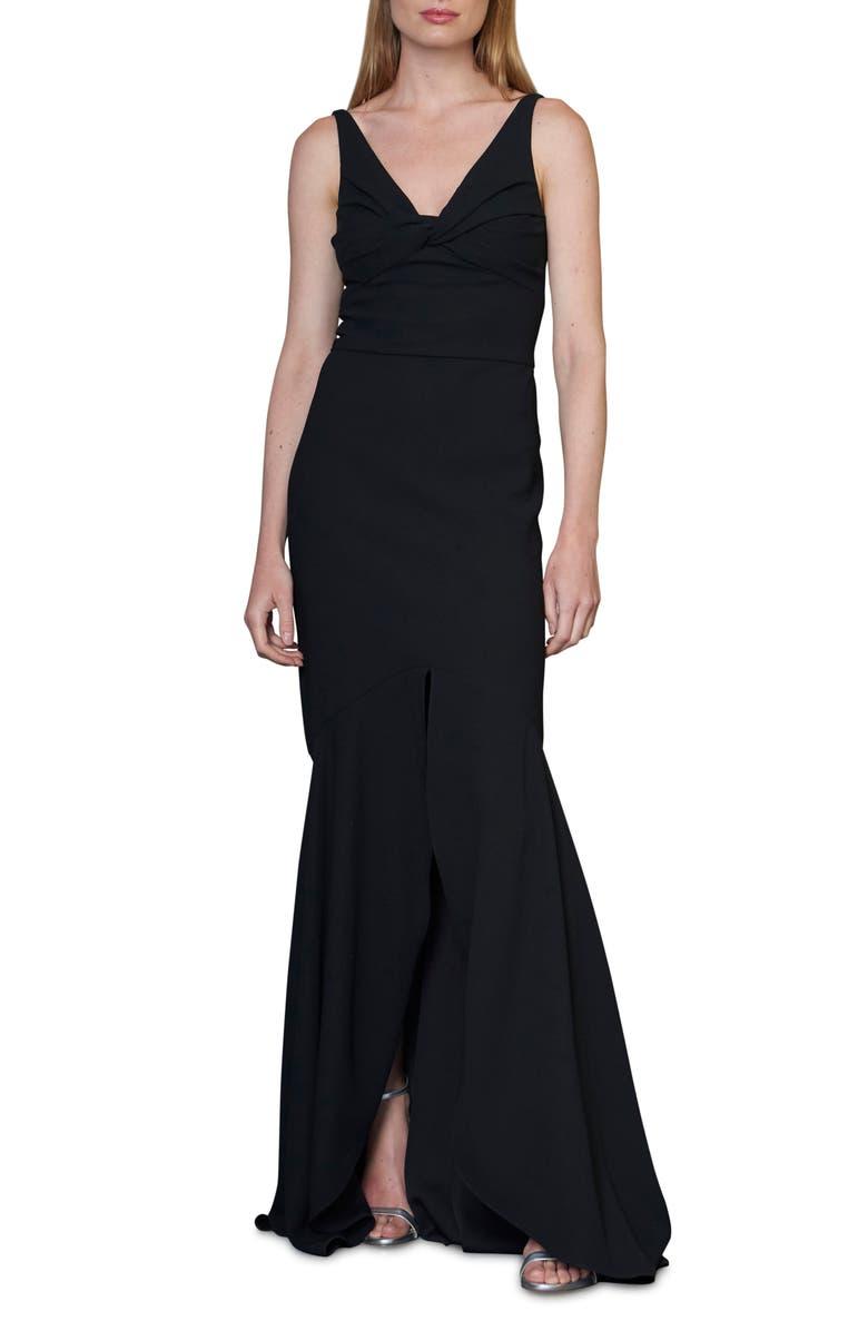 ML MONIQUE LHUILLIER Twist Front Crepe Gown, Main, color, JET