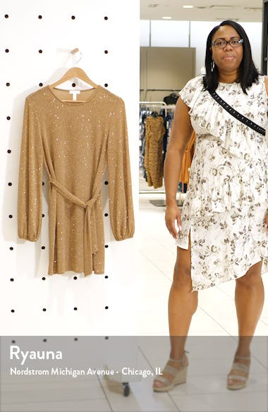 Sparkle Tie Waist Long Sleeve Dress, sales video thumbnail