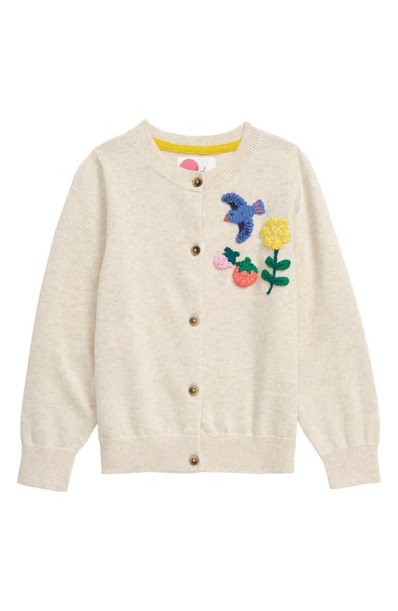 BODEN Fun Crochet Cardigan, Main, color, ECRU MARL