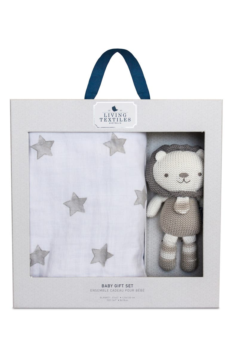 LIVING TEXTILES Baby Bento Swaddle Blanket & Austin Stuffed Animal Gift Set, Main, color, GREY