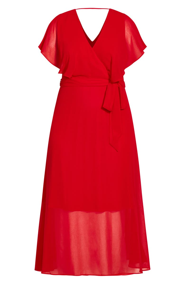 CITY CHIC Softly Tied Dress, Main, color, LIPSTICK