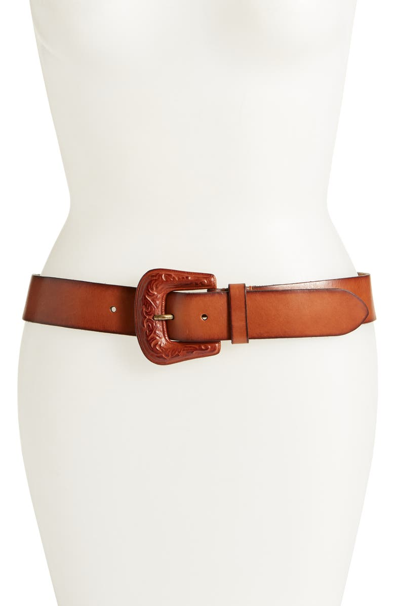 FRYE Covered Buckle Leather Belt, Main, color, TAN