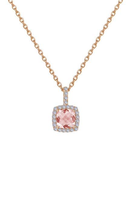 Image of LaFonn 18K Rose Gold Plated Sterling Silver Faceted Simulated Morganite & Micro Pave Simulated Diamond Necklace