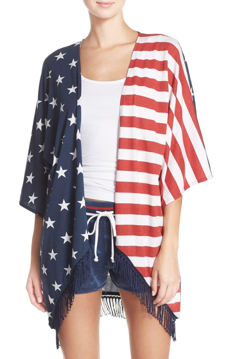 PJ SALVAGE 'Road Trip' Stars & Stripes Print Kimono, Main, color, 410
