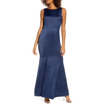 Chi Chi London Tella Lace Back Satin Trumpet Gown, Blue