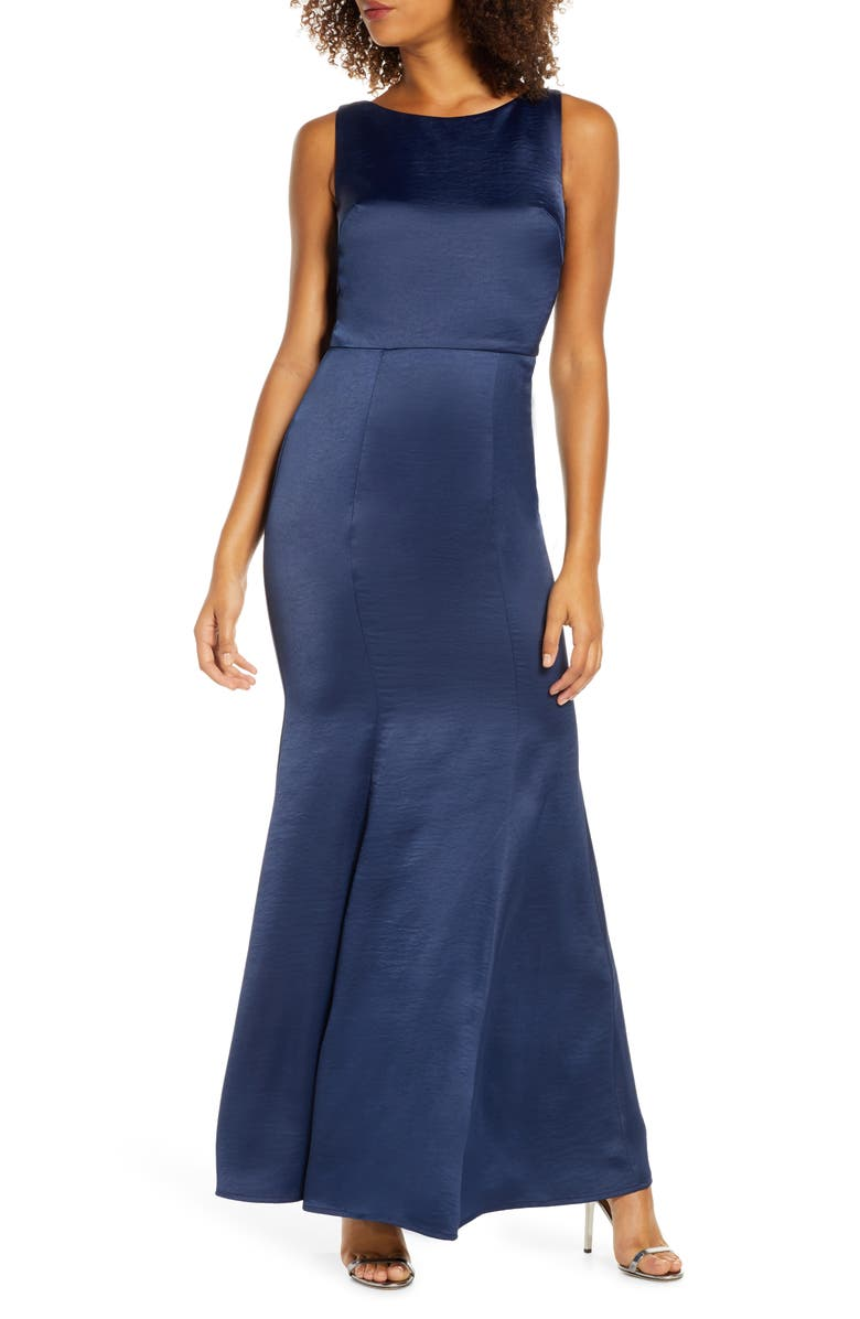 CHI CHI LONDON Tella Lace Back Satin Trumpet Gown, Main, color, NAVY