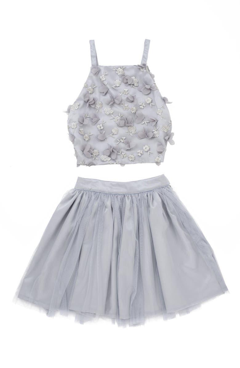 Stella MLia 3D Tulle Two Piece Dress Big Girls