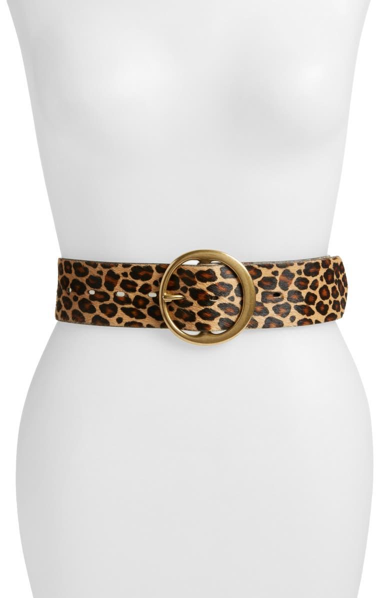 TREASURE & BOND Genuine Calf Hair Leopard Print Belt, Main, color, LEOPARD