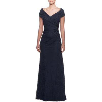 La Femme Portrait Neck Lace Gown, Blue