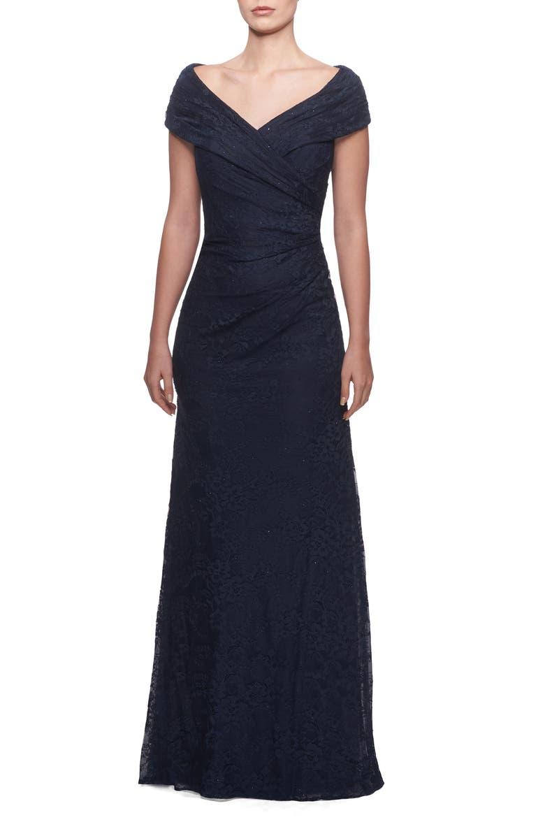 LA FEMME Portrait Neck Lace Gown, Main, color, NAVY