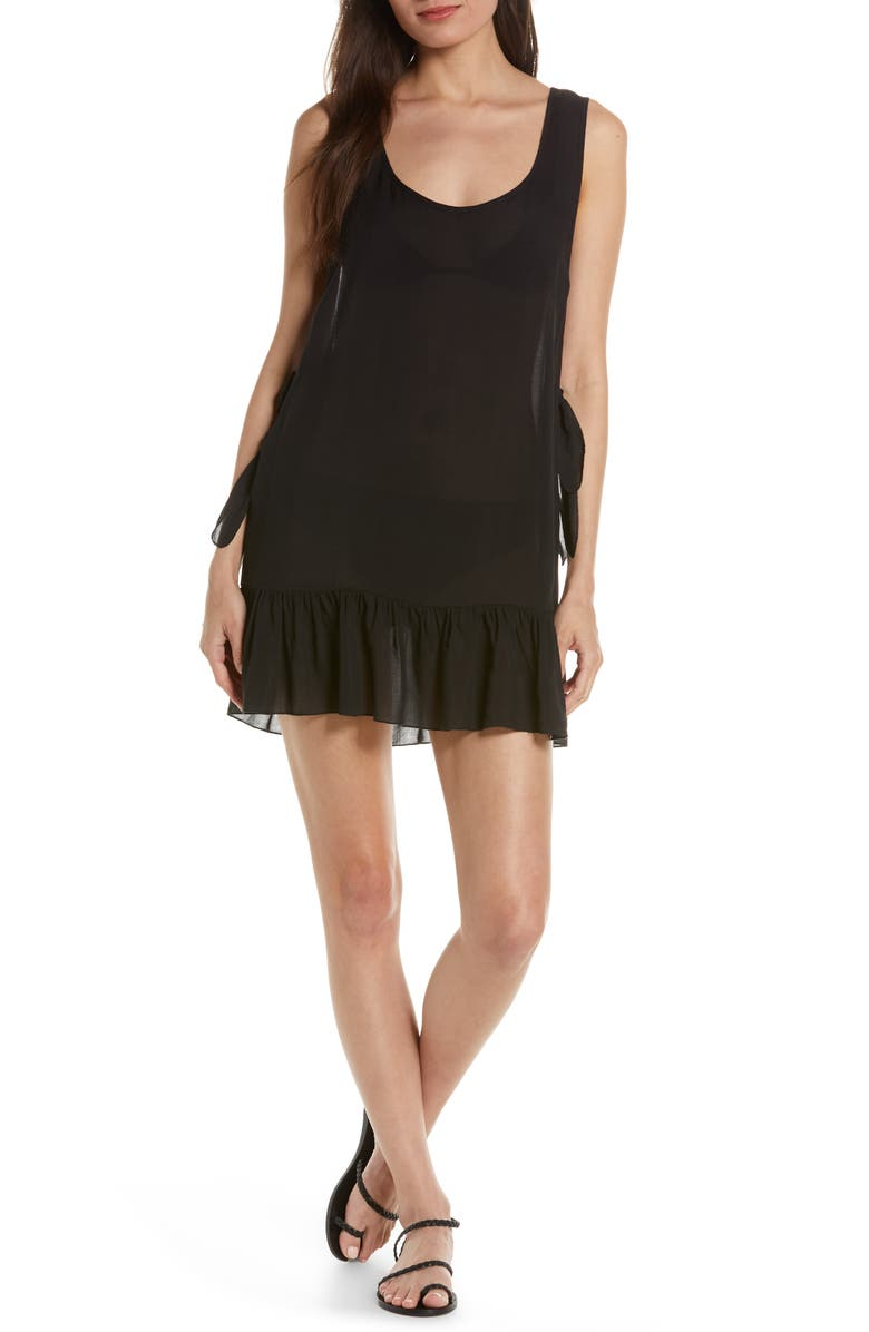 CHELSEA28 Tayla Side Tie Cover-Up Minidress, Main, color, BLACK