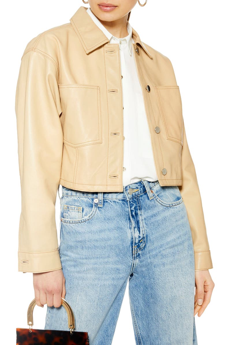 Doll Western Cropped Leather Jacket by Topshop