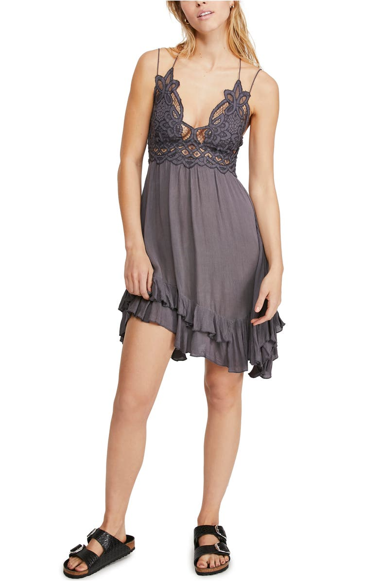 FREE PEOPLE Intimately FP Adella Frilled Chemise, Main, color, DARK GREY