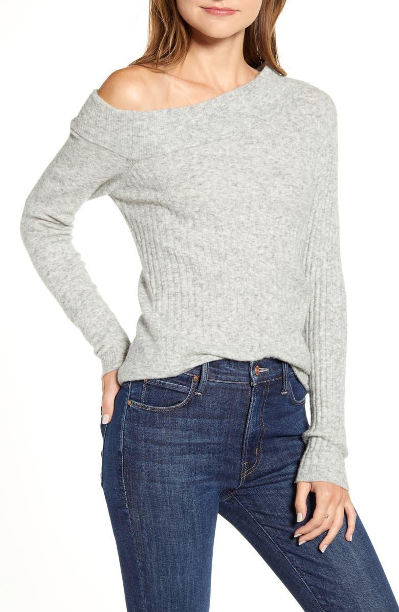 BAILEY 44 Jessica Asymmetrical Sweater, Main, color, HEATHER GREY