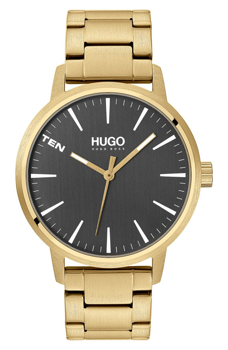 BOSS HUGO Stand Bracelet Watch, 42mm, Main, color, GOLD/ GRAY/ GOLD