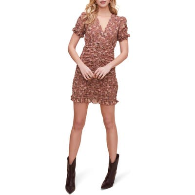 Astr The Label Short Sleeve Shirred Front Mini Dress, Pink