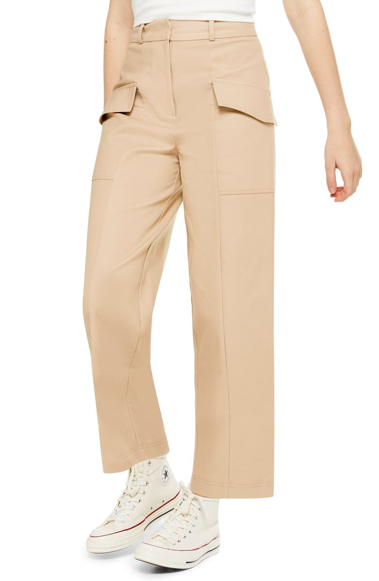 TOPSHOP Cropped Utility Trousers, Main, color, STONE