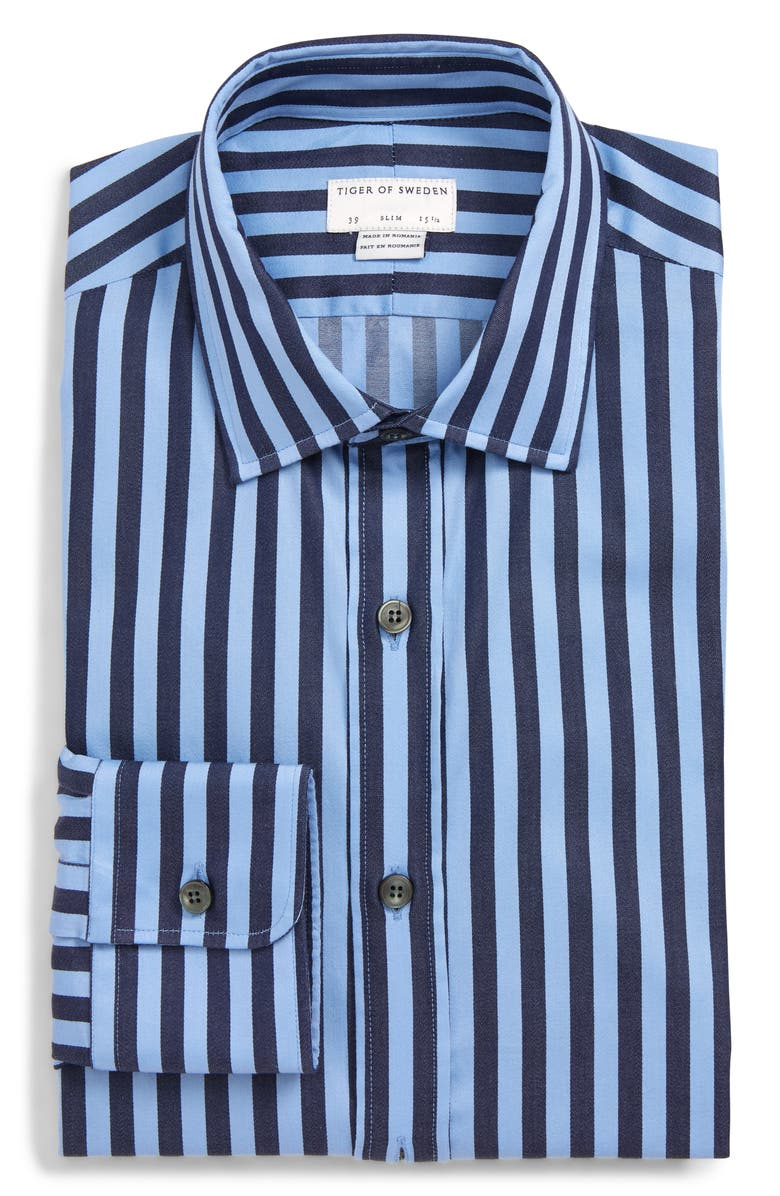 TIGER OF SWEDEN Fridolf Slim Fit Stripe Dress Shirt, Main, color, 451