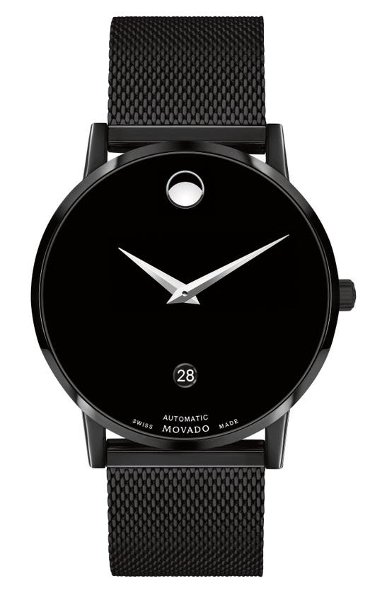 MOVADO MUSEUM CLASSIC MESH STRAP WATCH, 40MM