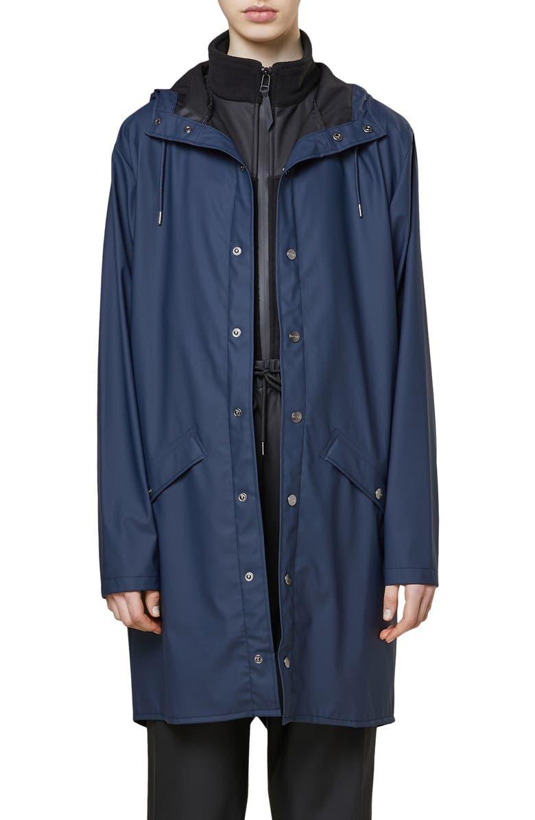 RAINS Waterproof Hooded Long Rain Jacket, Main, color, SHINY BLUE