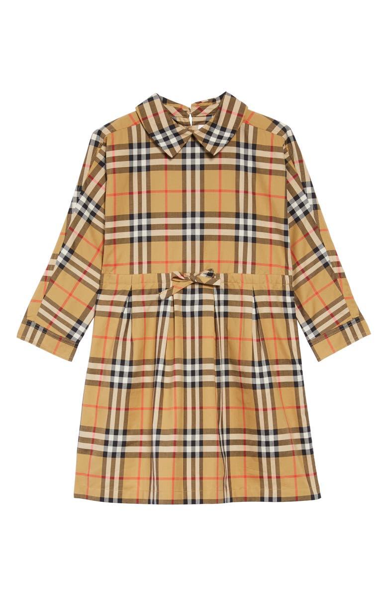 BURBERRY Mini Crissida Check Print Dress, Main, color, 701