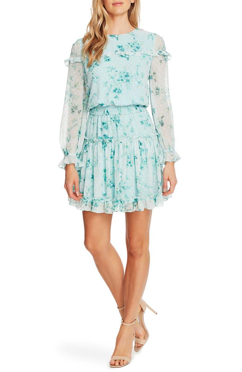 CECE Breezy Bouquet Clip Dot Ruffle Hem Long Sleeve Dress, Main, color, COOL AQUA