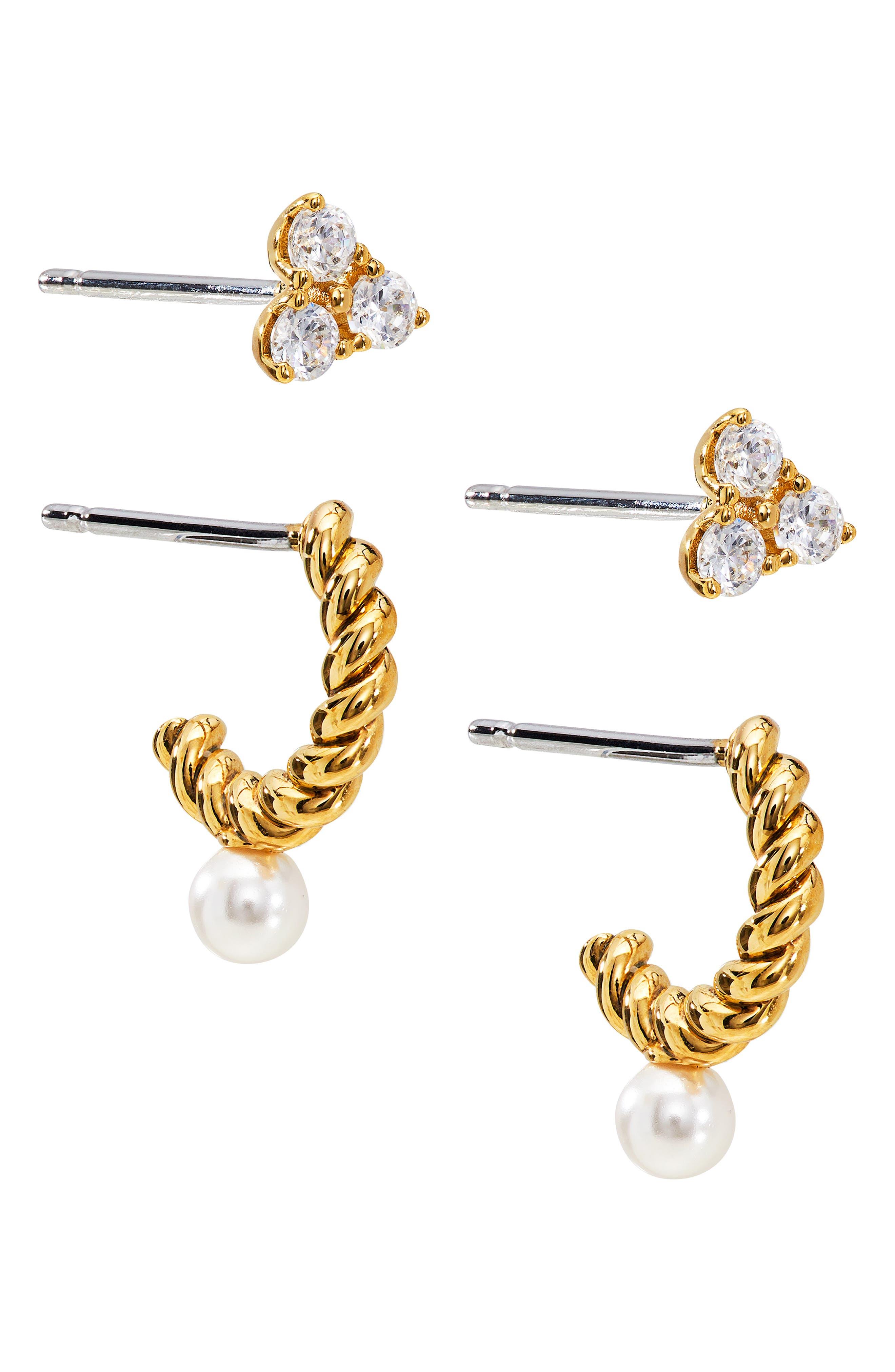 Set Of 2 Pairs Heart Stud & Imitation Pearl Hoop Earrings