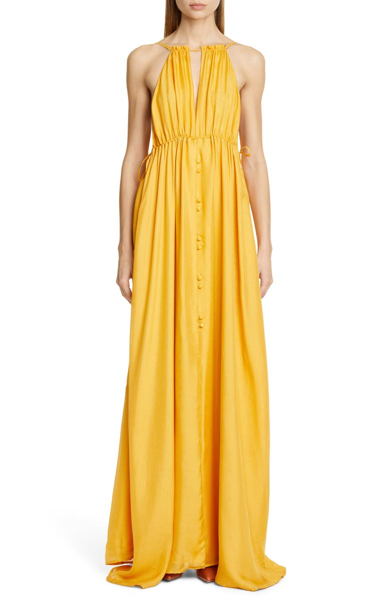CULT GAIA Agatha Silk Maxi Dress, Main, color, DANDELION