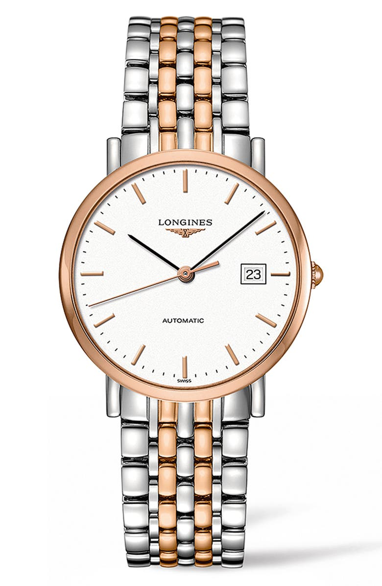 LONGINES Elegant Automatic Bracelet Watch, 37mm, Main, color, SILVER/ WHITE/ ROSE GOLD