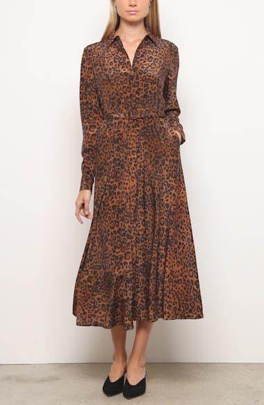 Brittany Leopard Print Long Sleeve Silk Shirtdress, video thumbnail