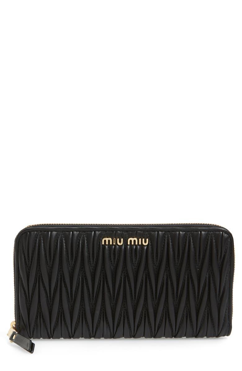 MIU MIU Matelassé Lambskin Leather Zip Around Wallet, Main, color, 001