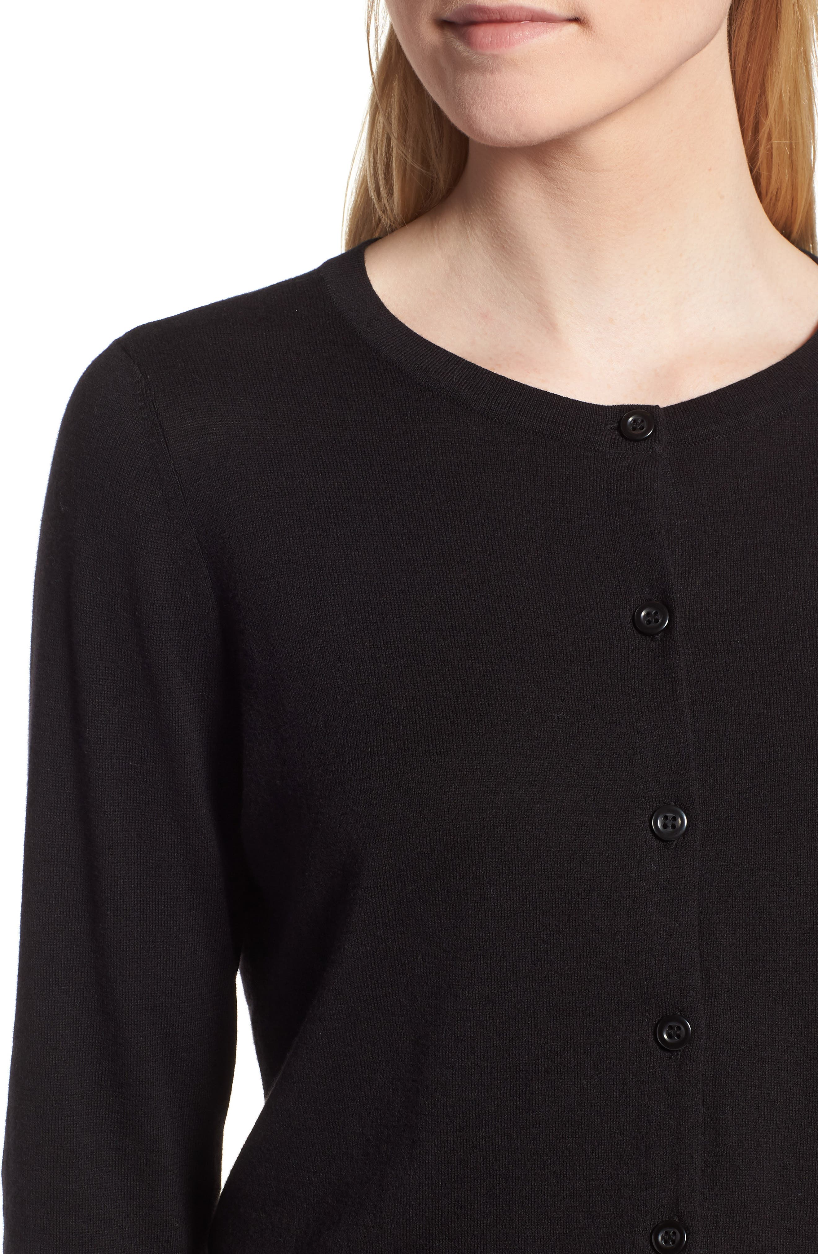 ,                             Cotton Blend Cardigan,                             Alternate thumbnail 5, color,                             BLACK