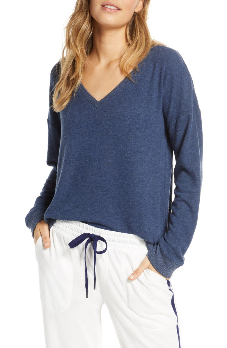 PJ SALVAGE Dream Mix Lounge Sweater, Main, color, NAVY