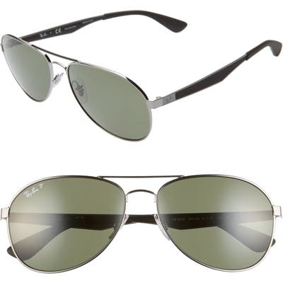 Ray-Ban 61mm Polarized Aviator Sunglasses - Gunmetal