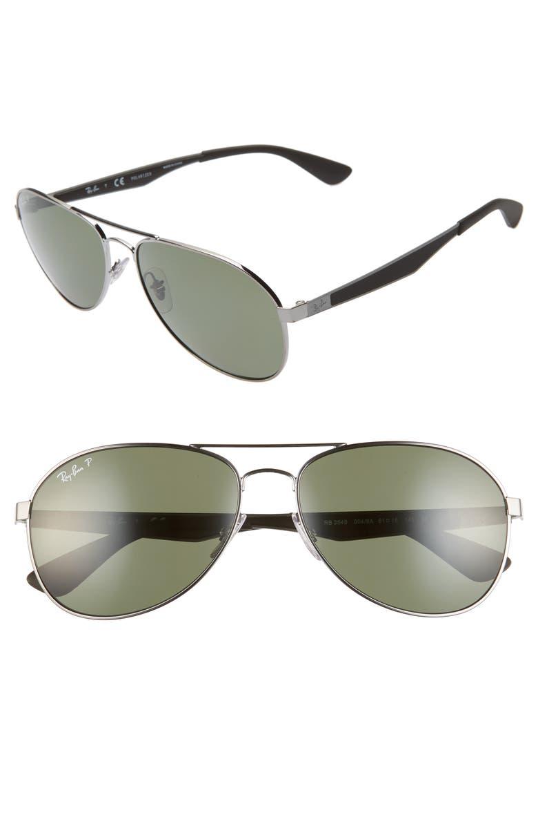 RAY-BAN 61mm Polarized Aviator Sunglasses, Main, color, GUNMETAL