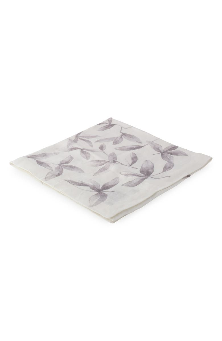 MICHAEL ARAM Laurel Set of 4 Linen Napkins, Main, color, WHITE