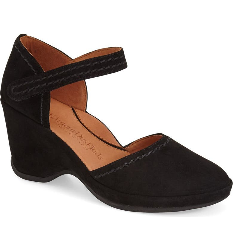 L'AMOUR DES PIEDS L'Amourdes Pieds'Orva' Wedge Sandal, Main, color, BLACK KIDSUEDE