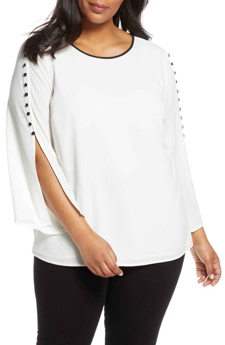 VINCE CAMUTO Button Split Sleeve Top, Main, color, PEARL IVORY