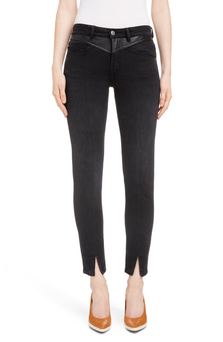 GIVENCHY Leather Detail Ankle Skinny Jeans, Main, color, 001