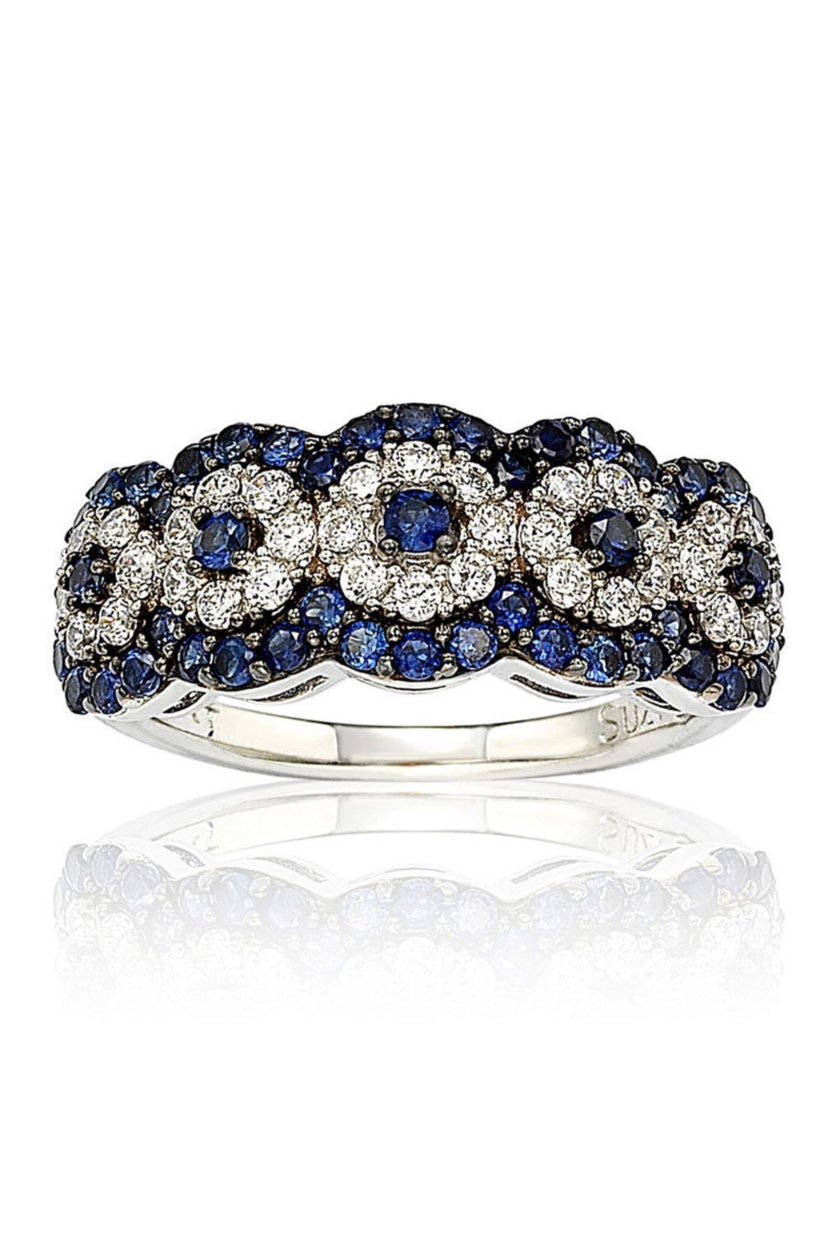 Image of Suzy Levian Two-Tone Blue Sapphire, Created White Sapphire & Brown Diamond Ring