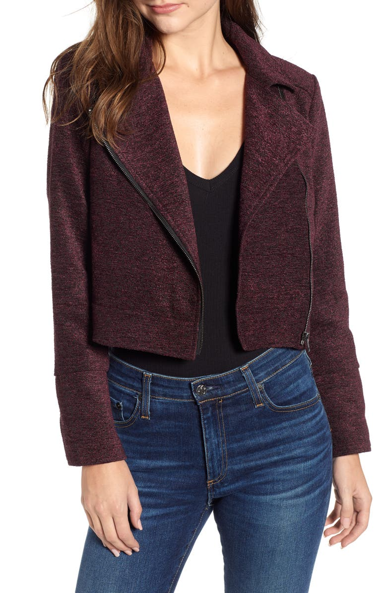CUPCAKES AND CASHMERE Chenille Crop Moto Jacket, Main, color, 601
