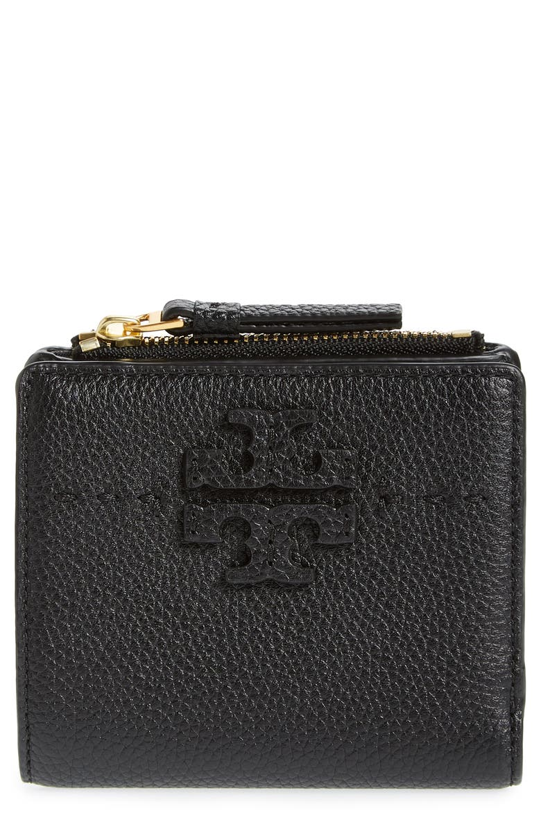 TORY BURCH Mini McGraw Leather Wallet, Main, color, 001