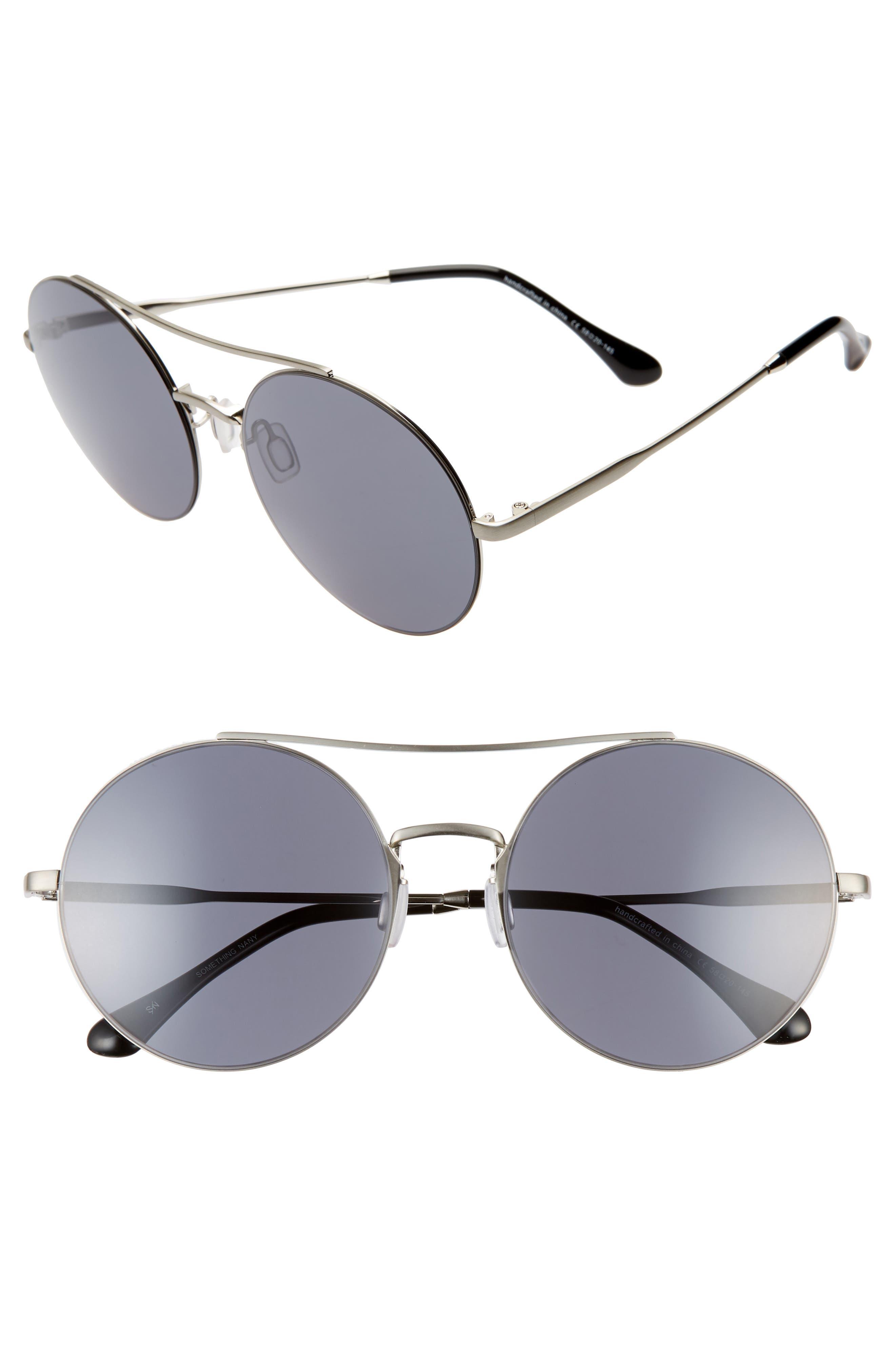 Something Navy 5m Round Aviator Sunglasses - Silver/ Dark Grey (Nordstrom Exclusive)