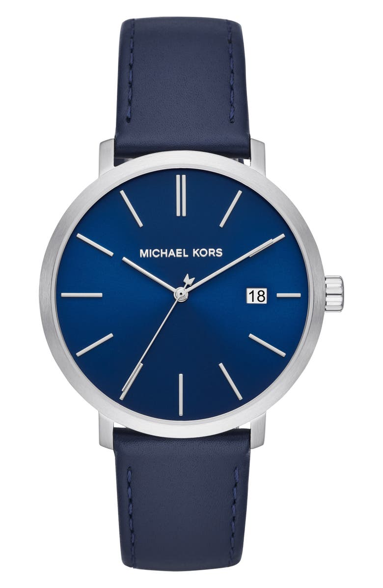 MICHAEL MICHAEL KORS Blake Leather Strap Watch, 42mm, Main, color, BLUE/ SILVER