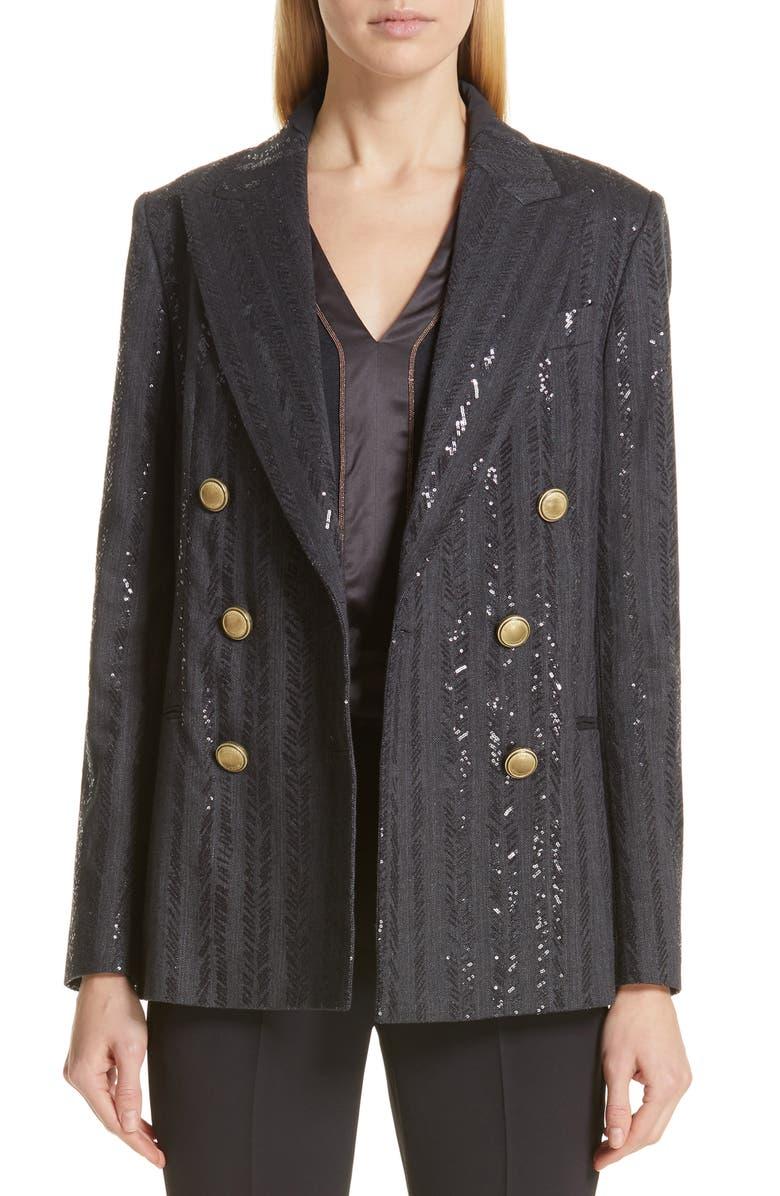BRUNELLO CUCINELLI Chevron Sequin Double Breasted Jacket, Main, color, ONYX