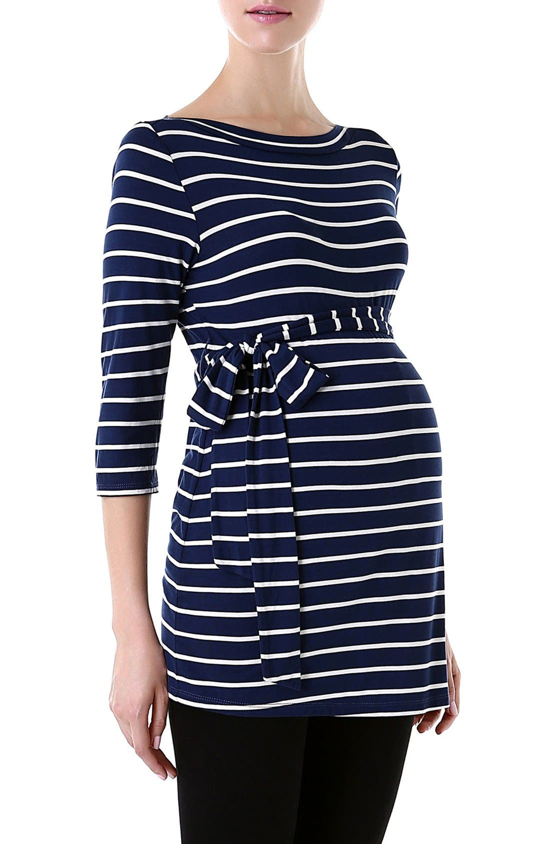 A pretty tie waist cinches a boatneck top patterned with crisp breton stripes for a bit of French-inspired flair. Style Name: Kimi And Kai \\\'Whitney\\\' Stripe Belted Maternity Top. Style Number: 5252126.