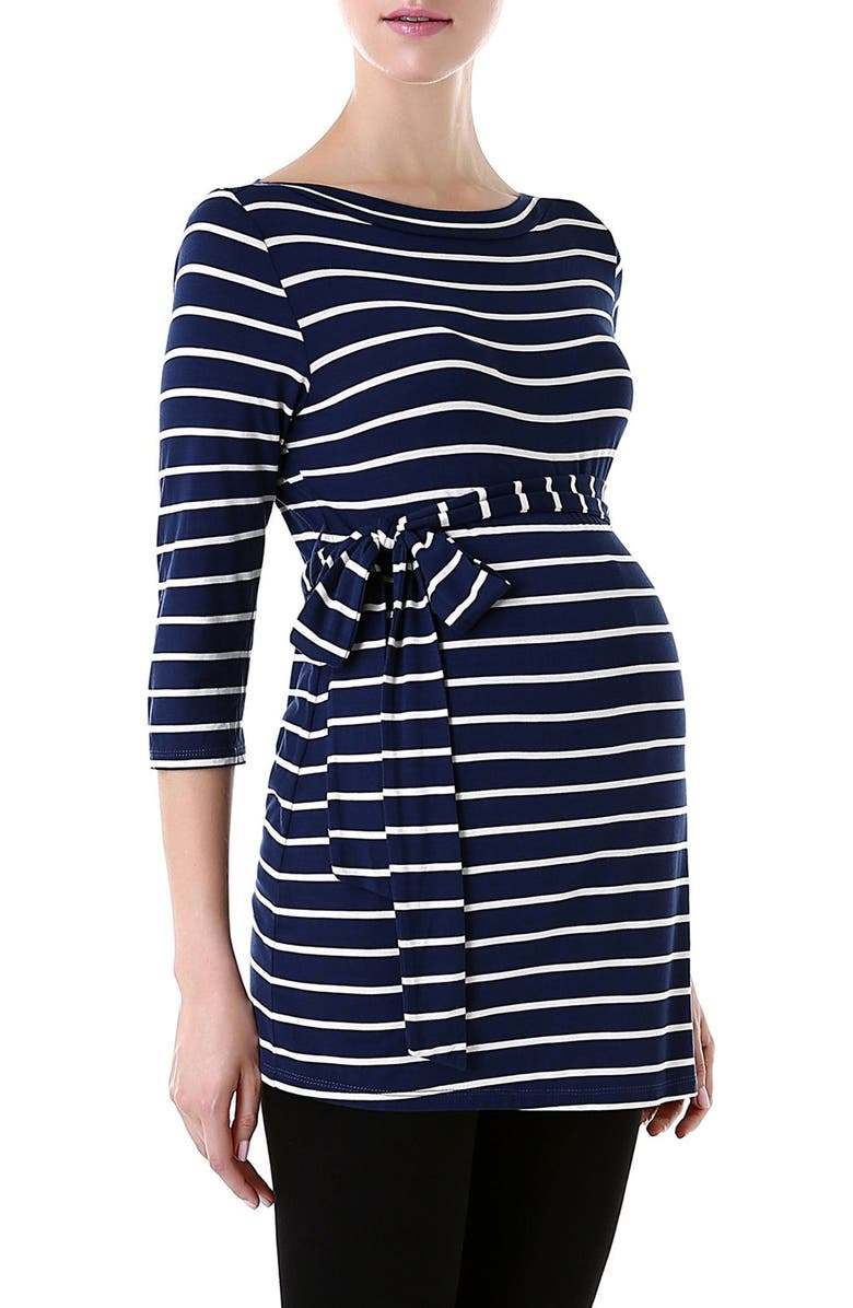 KIMI AND KAI 'Whitney' Stripe Belted Maternity Top, Main, color, NAVY/ IVORY