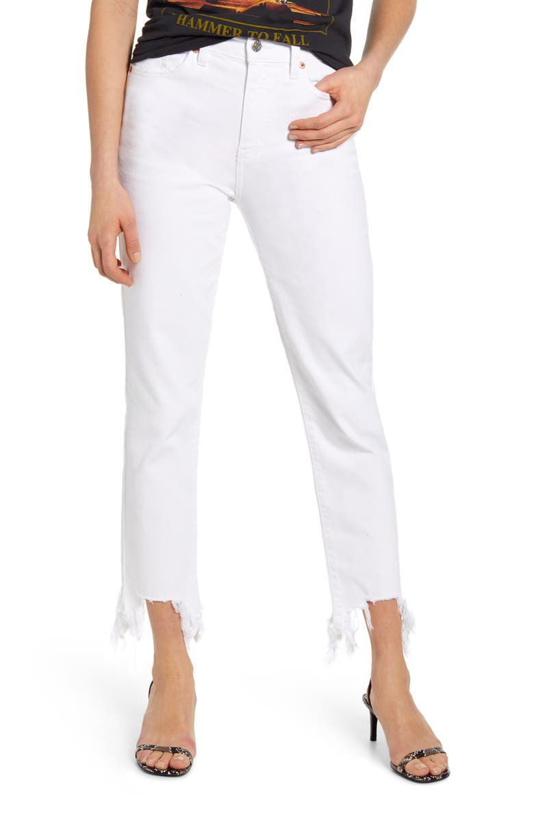 DAZE Straight up High Waist Destroyed Hem Straight Leg Jeans, Main, color, 100