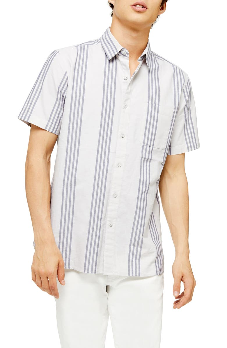 TOPMAN Slim Fit Oxford Stripe Short Sleeve Button-Up Shirt, Main, color, STONE