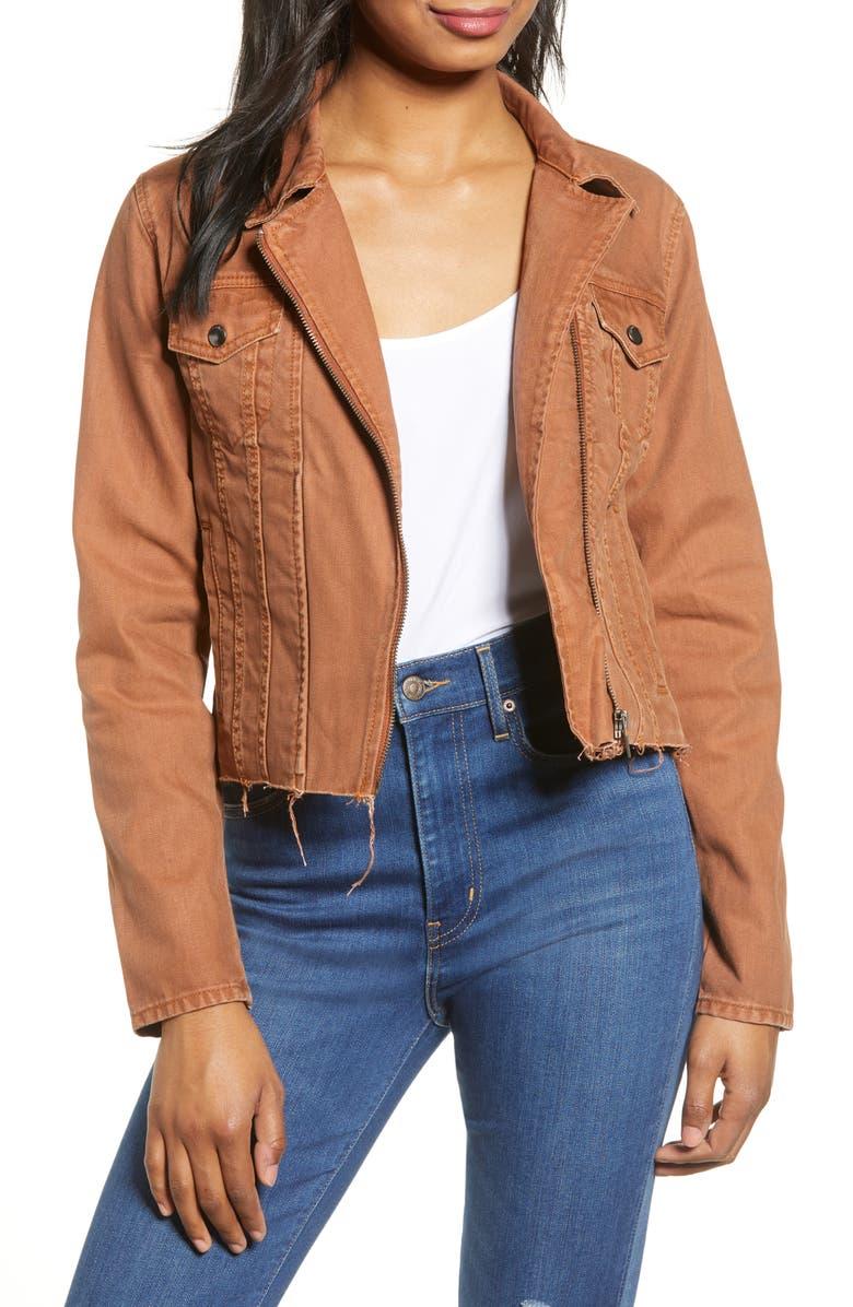 BLANKNYC Rust Denim Moto Jacket, Main, color, AMBER